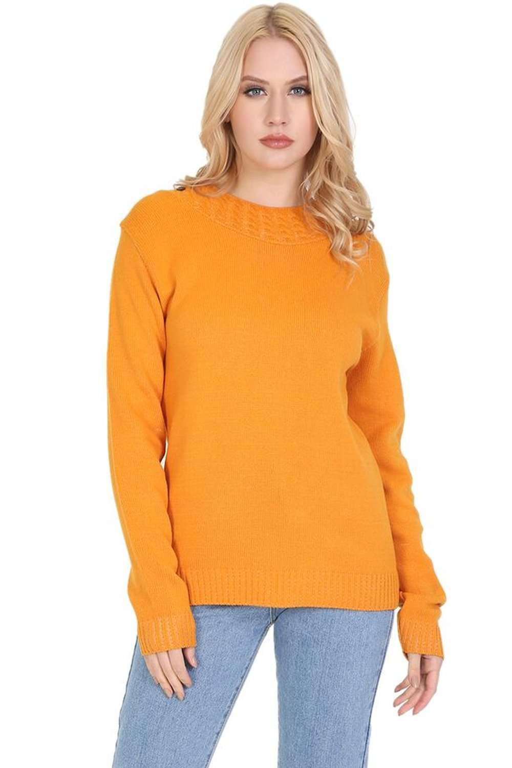Sophie Long Sleeve Button Neck Cable Knitted Jumper - bejealous-com