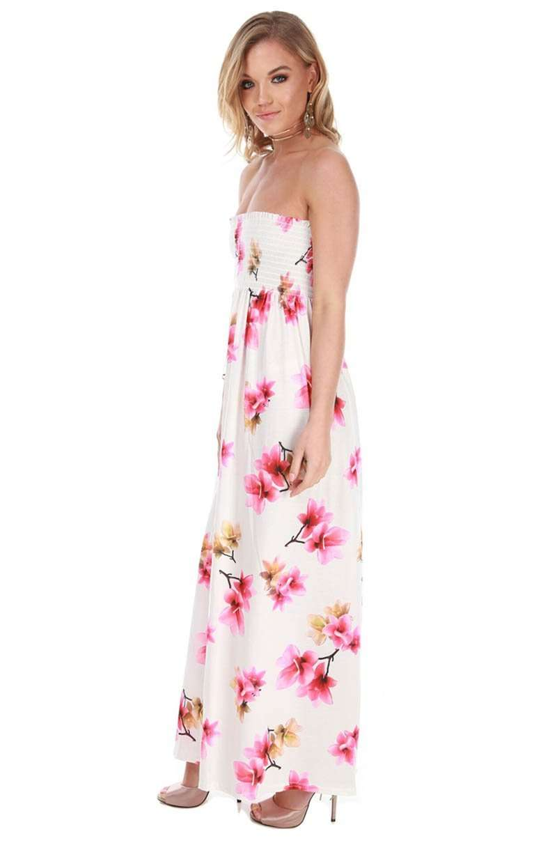 Strapless Bandeau Cream Floral Maxi Dress - bejealous-com