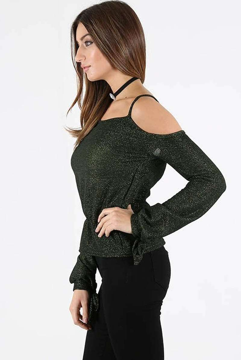 Strappy Cold Shoulder Tie Sleeve Glittery Top - bejealous-com