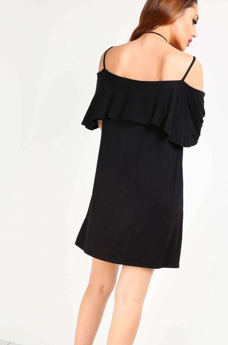Strappy Frill Cold Shoulder Jersey Swing Dress - bejealous-com