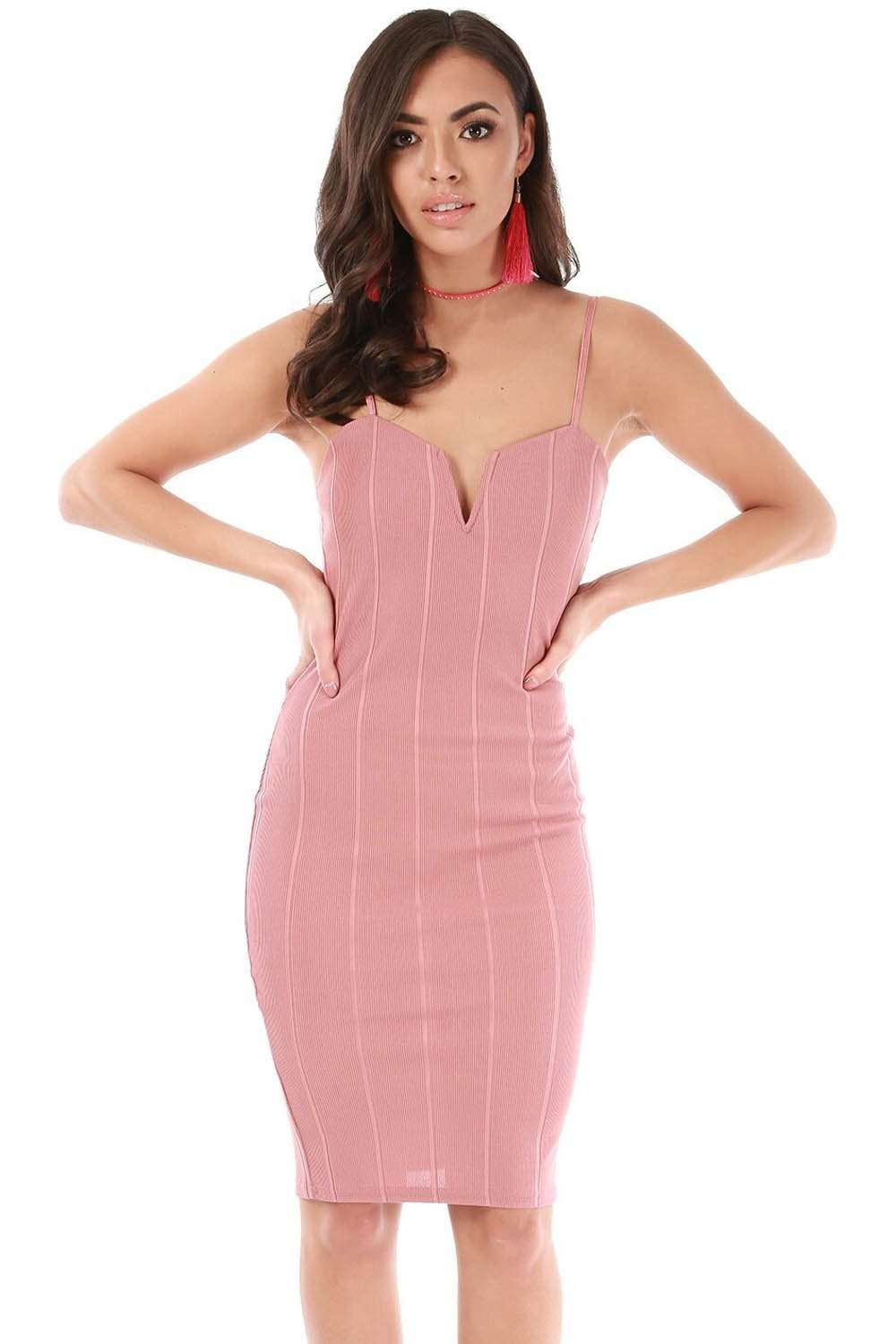 Strappy Pink Plunge Neck Bandage Bodycon Midi Dress - bejealous-com