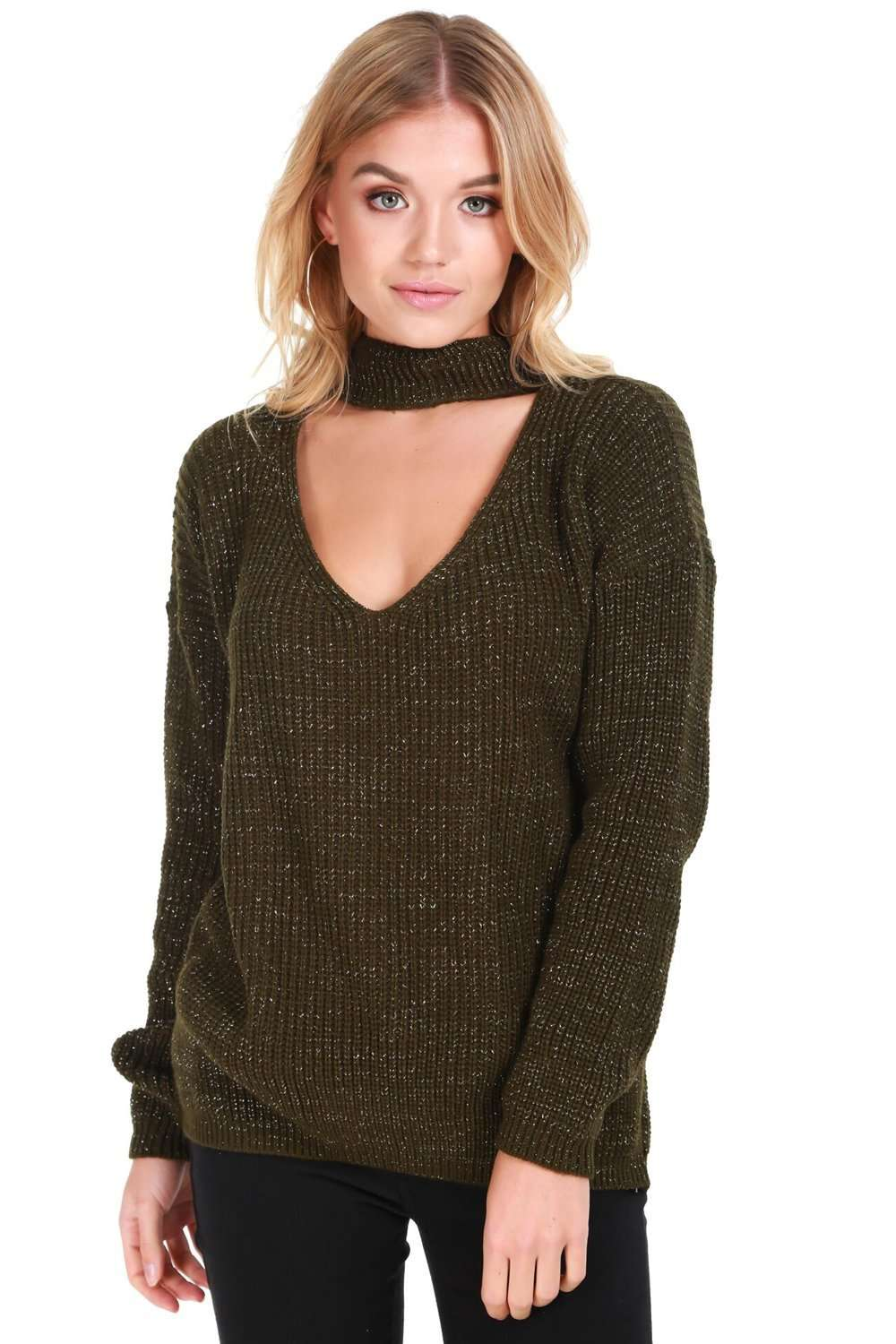 Sufiyah Choker Neck Oversized Knitted Jumper - bejealous-com