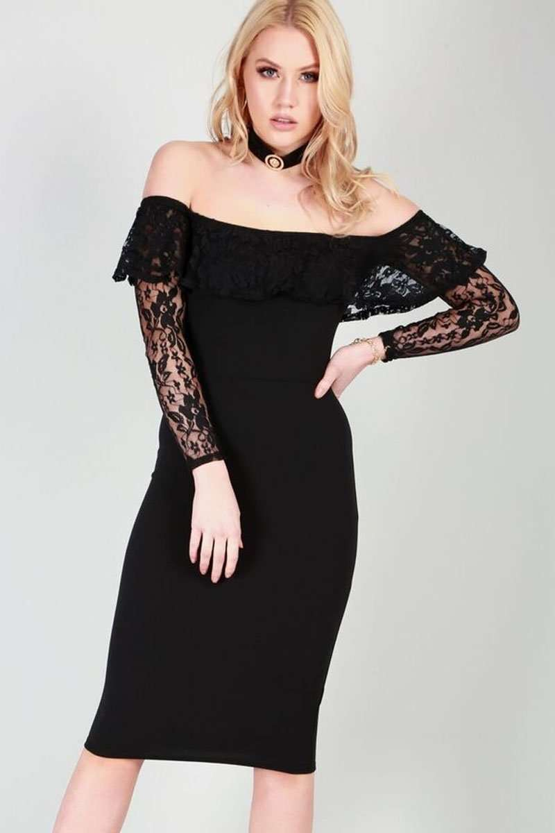 Talia Cold Shoulder Lace Sleeves Midi Dress - bejealous-com