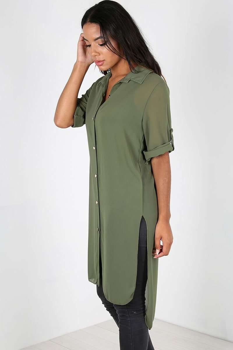 Tallia Curved Hem Chiffon Shirt Dress - bejealous-com
