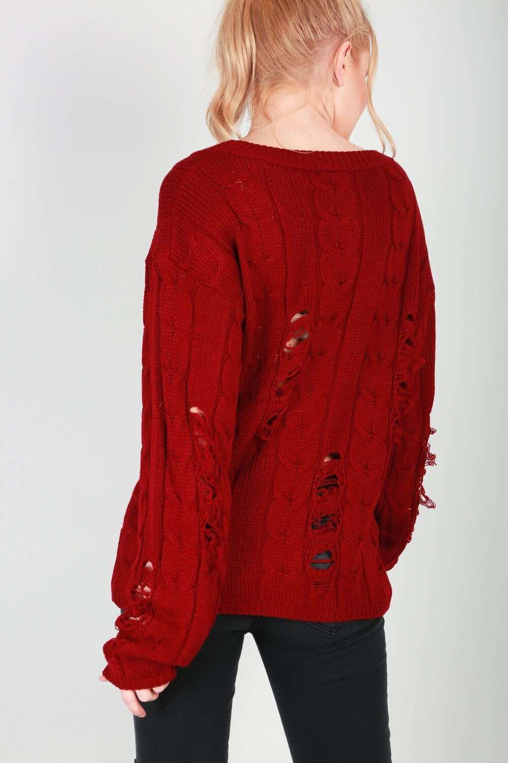 Talliah Ripped Knitted Jumper - bejealous-com