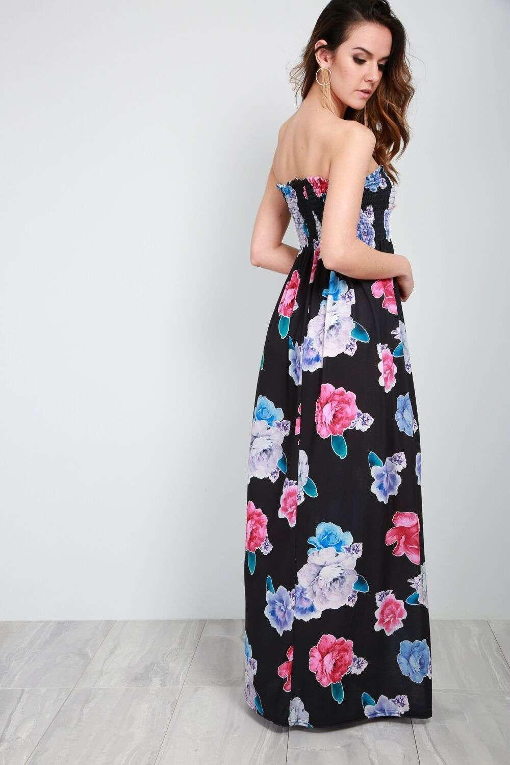 Tammi Sheering Strapless Floral Maxi Dress - bejealous-com