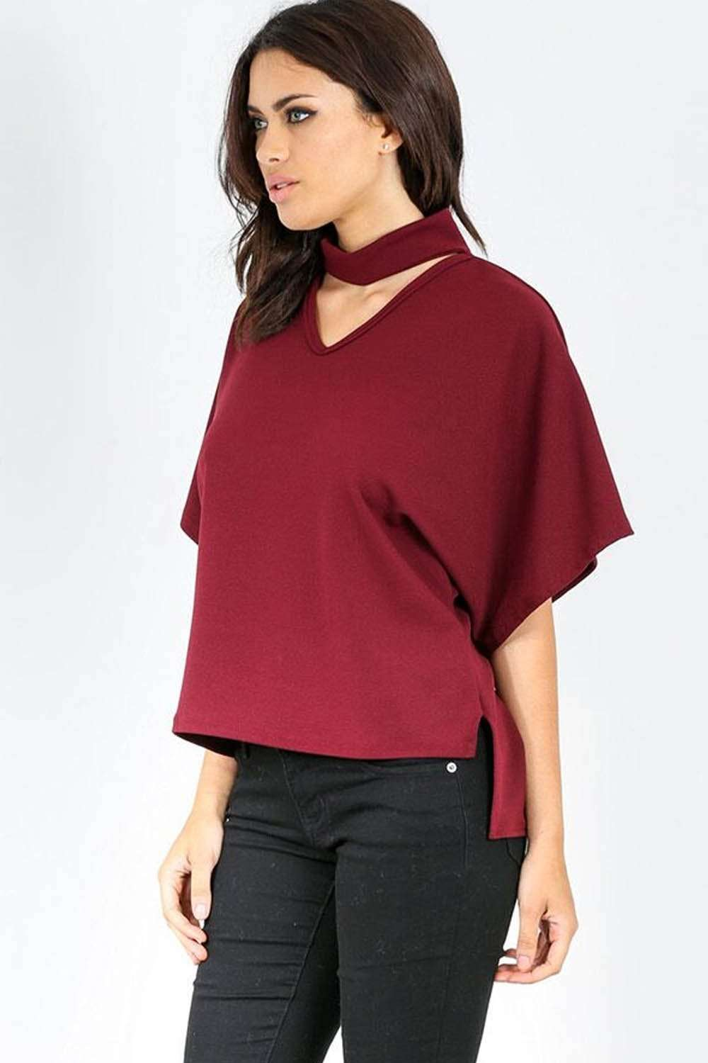 Tanaya Choker Neck Baggy Bat Wing Top - bejealous-com