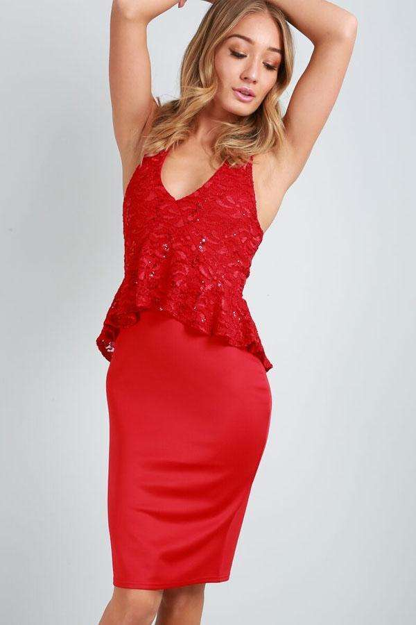 Taya Racer Back Red Sequin Midi Dress - bejealous-com