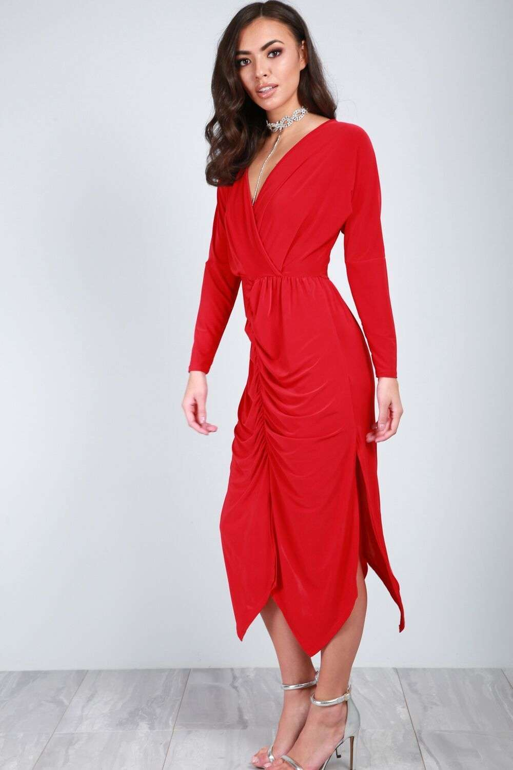 Thea Long Sleeve Draped Midi Dress - bejealous-com