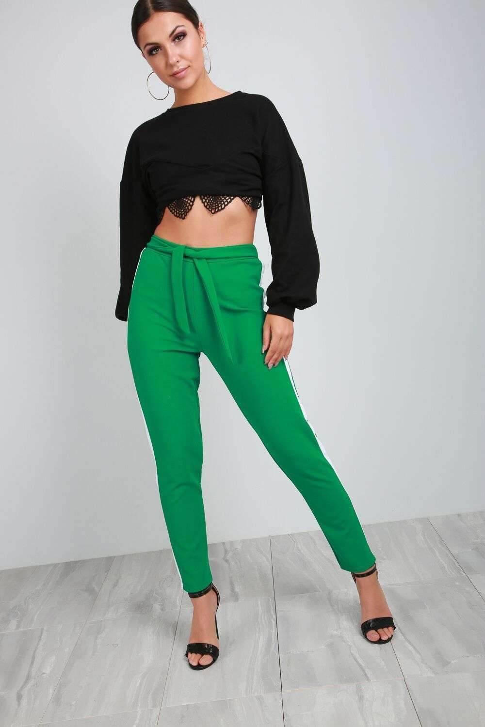 Theo Paneled Stripe High Waist Belted Trouser - bejealous-com