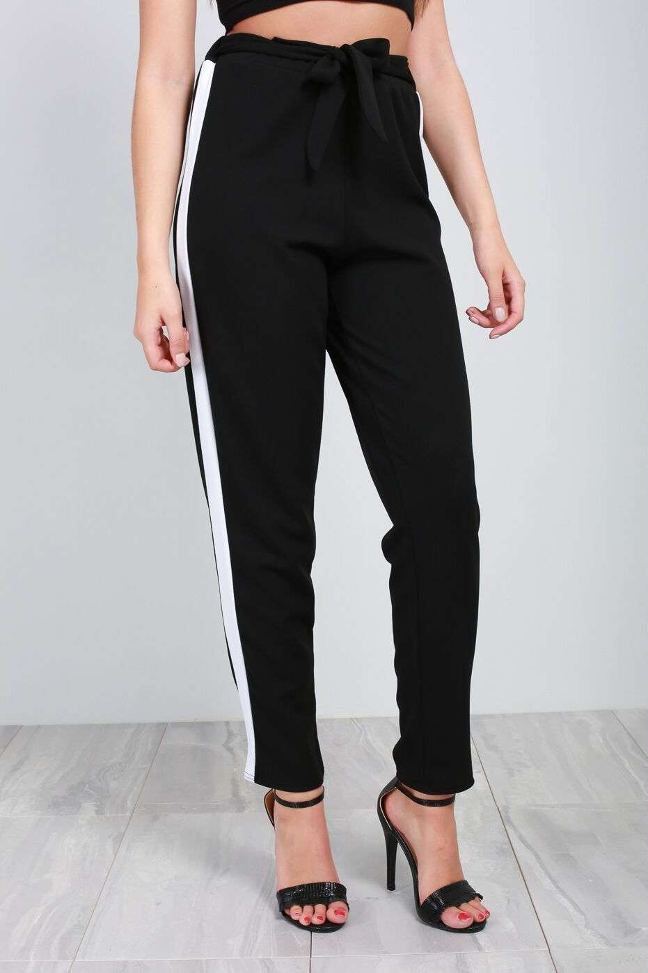 Theo Panelled Stripe High Waist Cigarette Trouser - bejealous-com