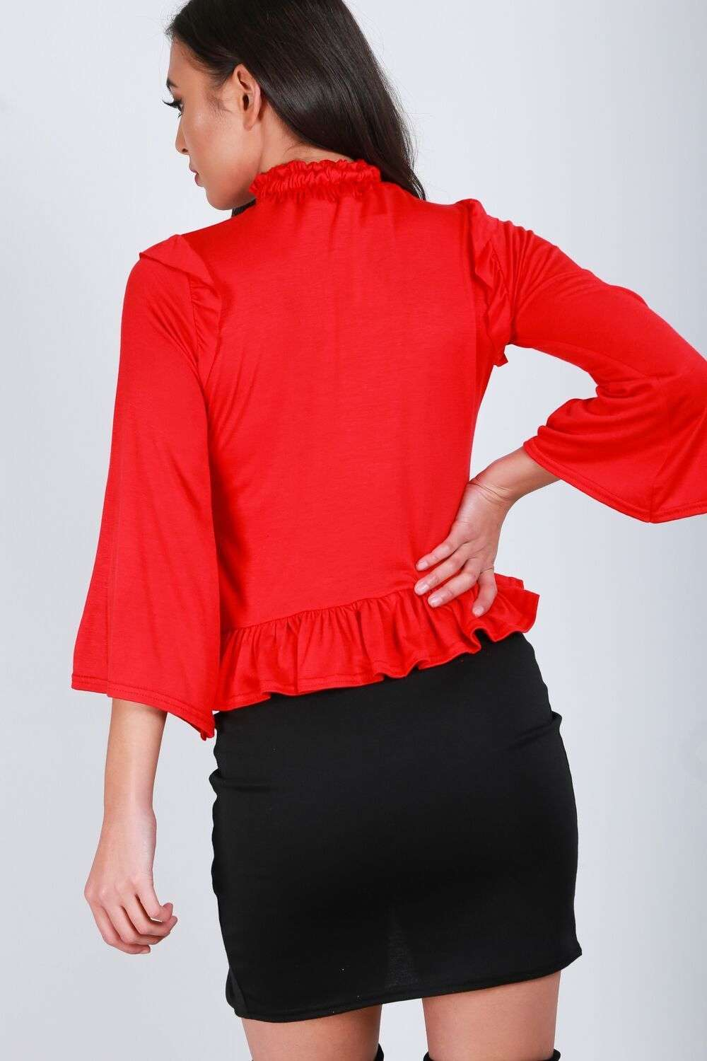 Tiah Ruffle Neck Cropped Frill Sleeve Top - bejealous-com