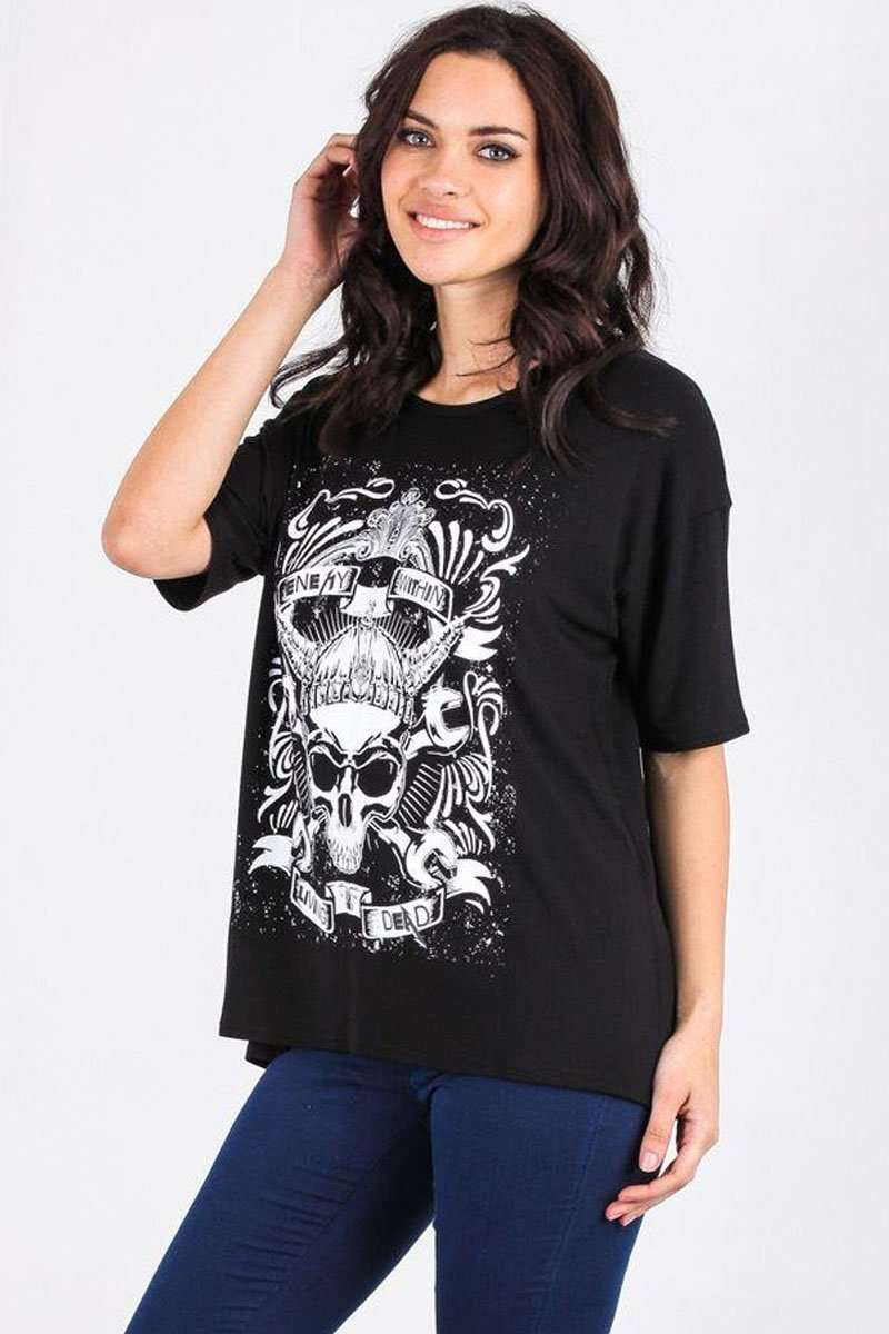 Tilly Skull Graphic Print Baggy TShirt - bejealous-com