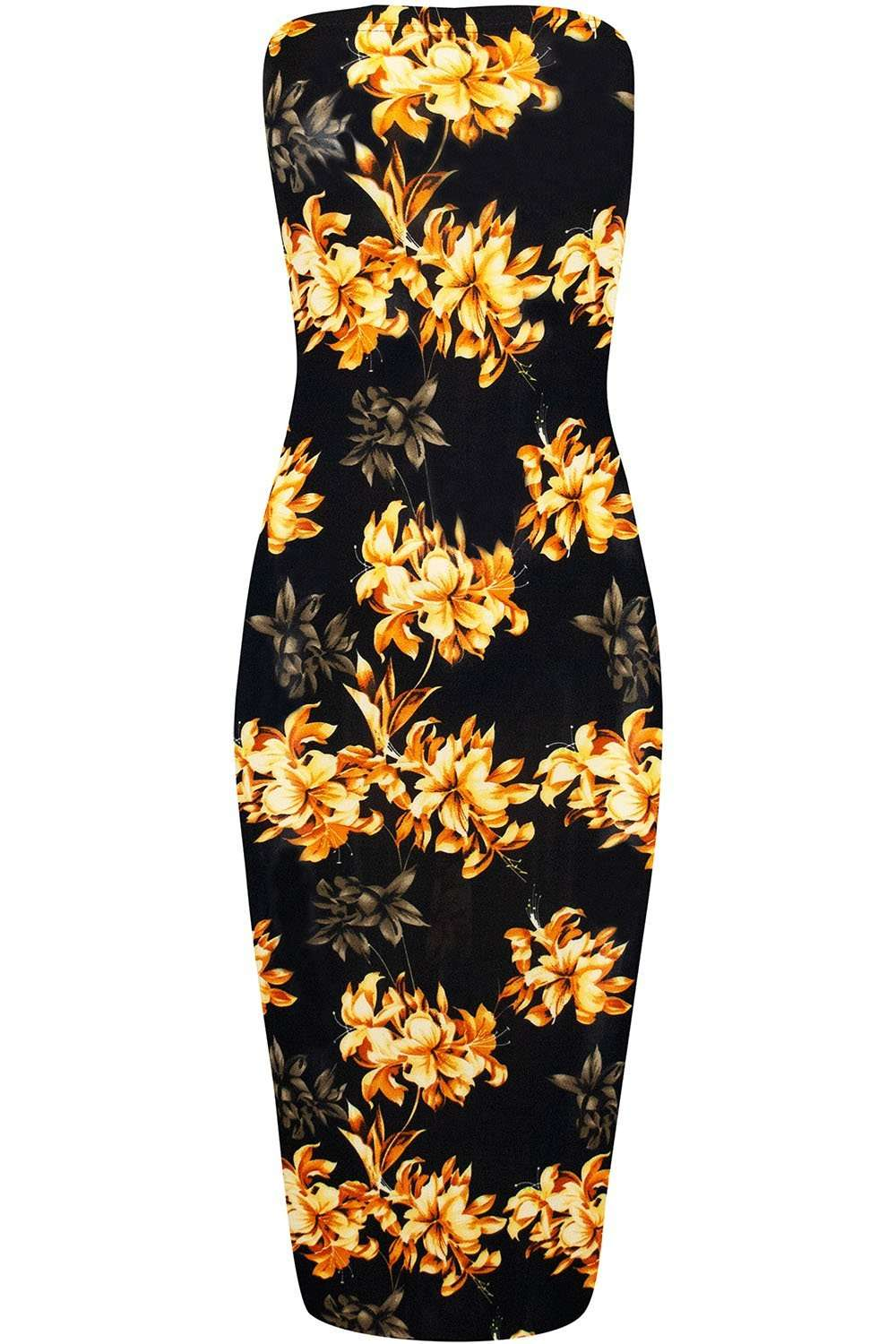 Tropical Print Bandeau Yellow Floral Midi Tube Dress - bejealous-com