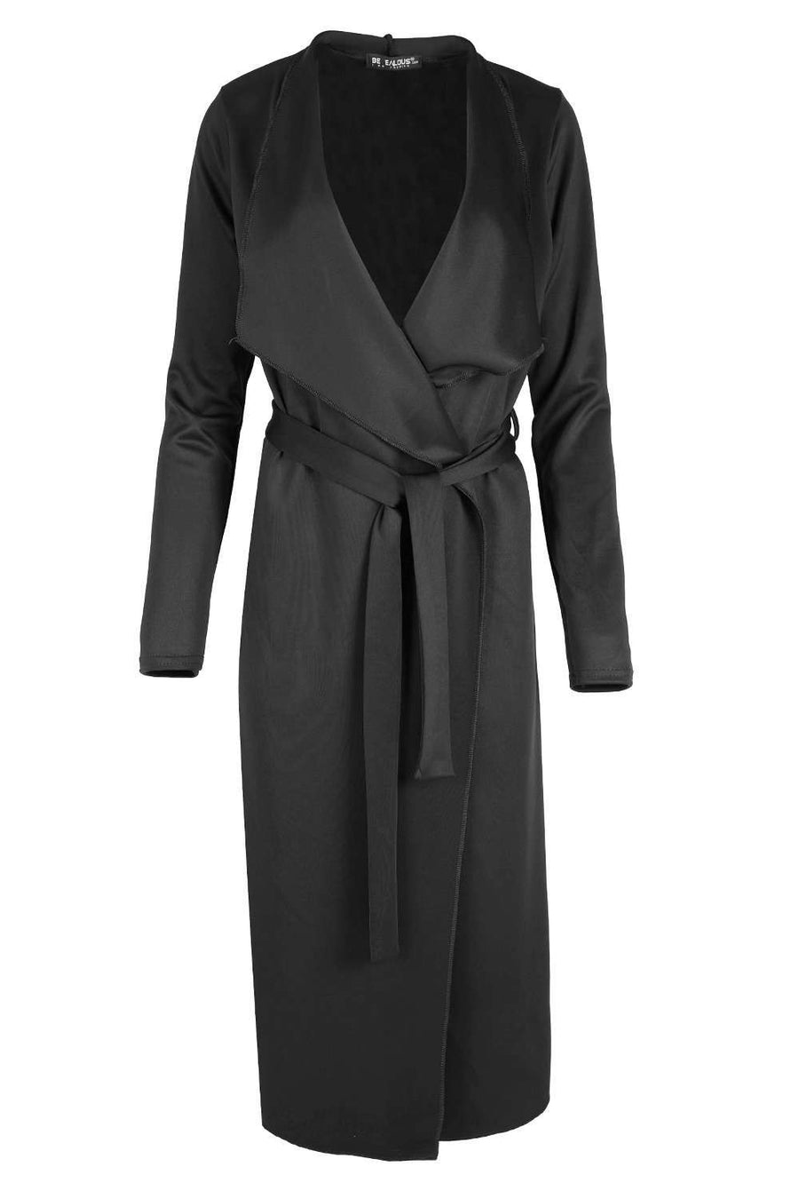 Vae Long Sleeve Waterfall Midi Duster Jacket - bejealous-com