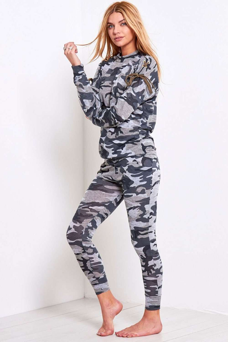 Vanessa Lace Up Camo Print Lounge Set - bejealous-com