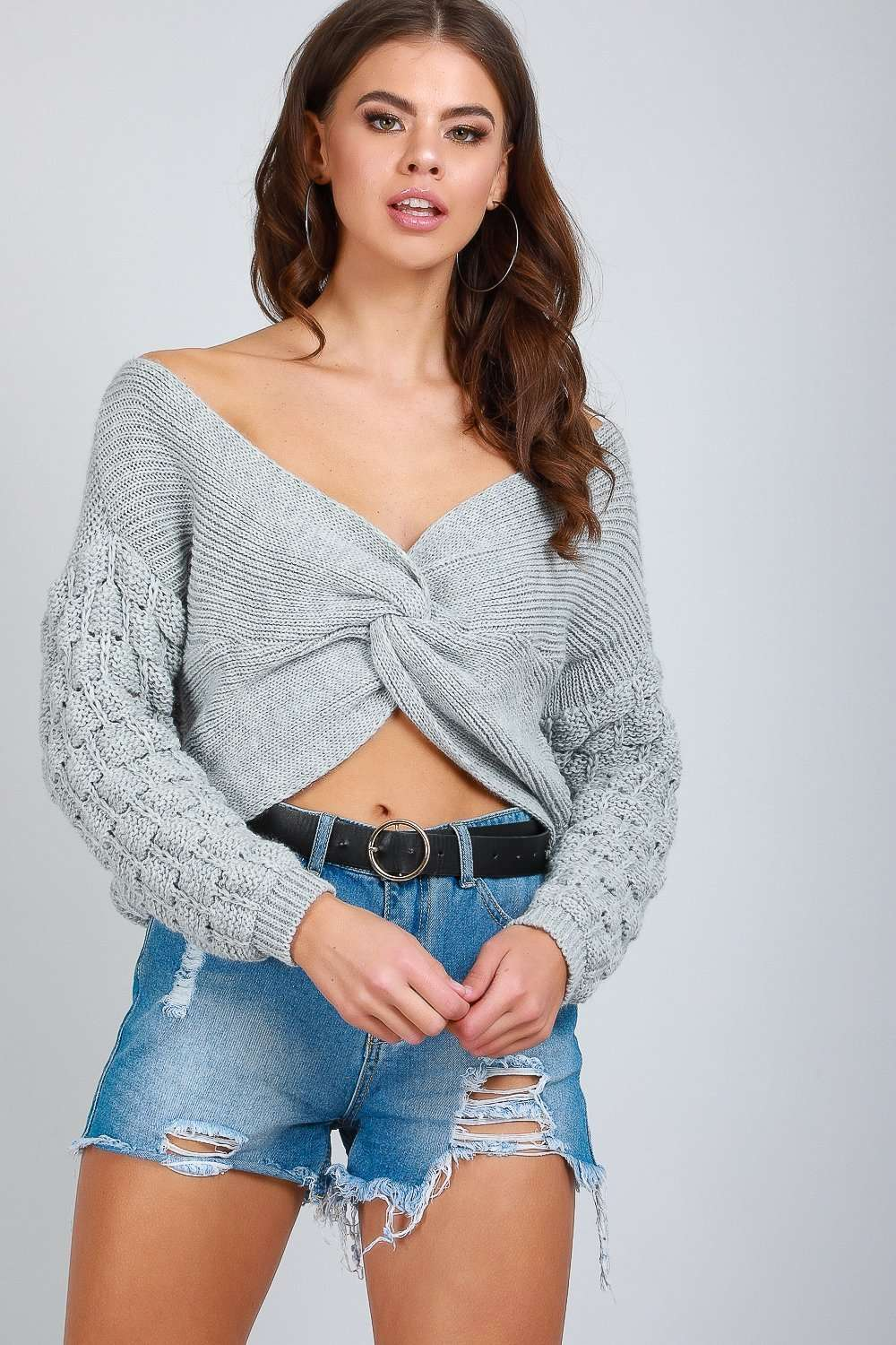 Vanessa Twist Front Cropped Knitted Jumper - bejealous-com