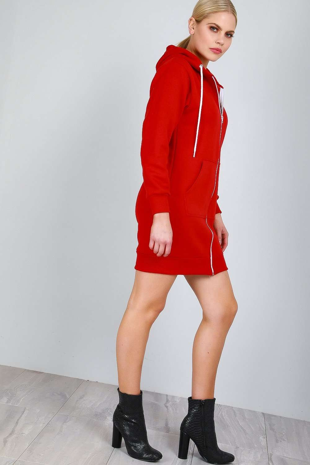 Vee Oversized Hooded Sweatshirt Mini Dress - bejealous-com