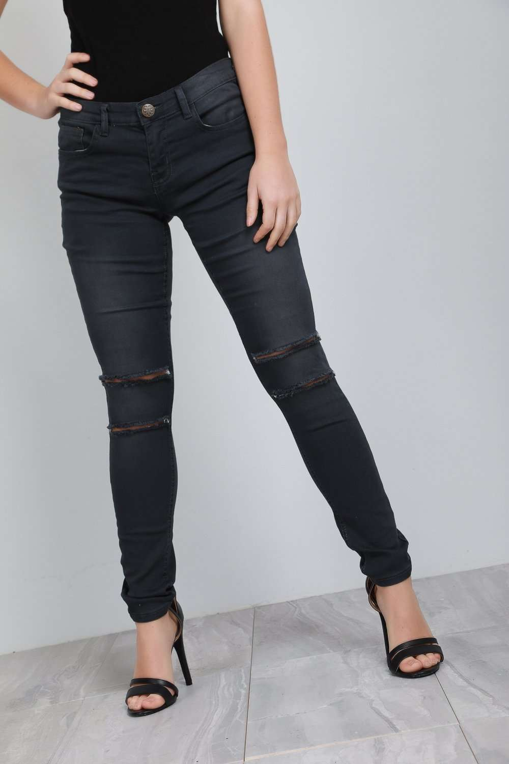 Viana Charcoal Ripped Knee Denim Skinny Jeans - bejealous-com