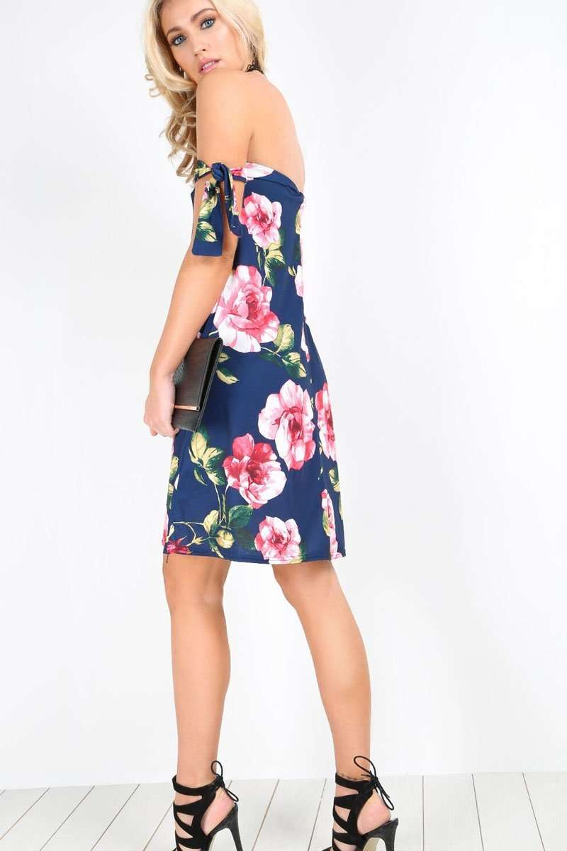 Violet Bardot Floral Tie Sleeve Swing Dress - bejealous-com