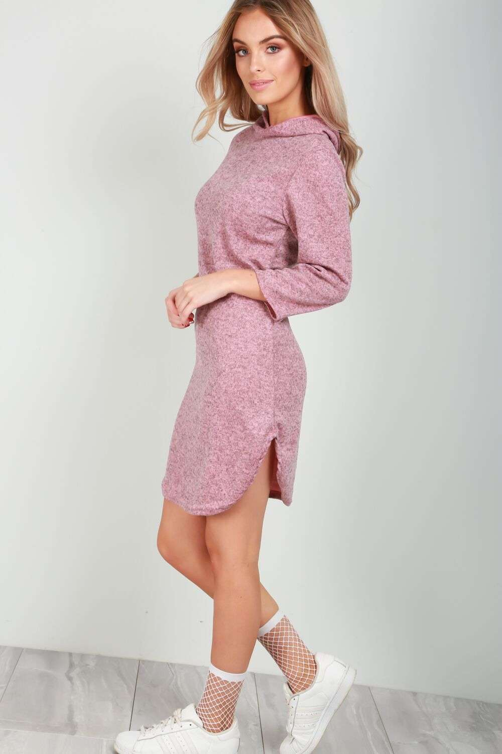 Violet Curved Hem Hooded Sweater Dress - bejealous-com