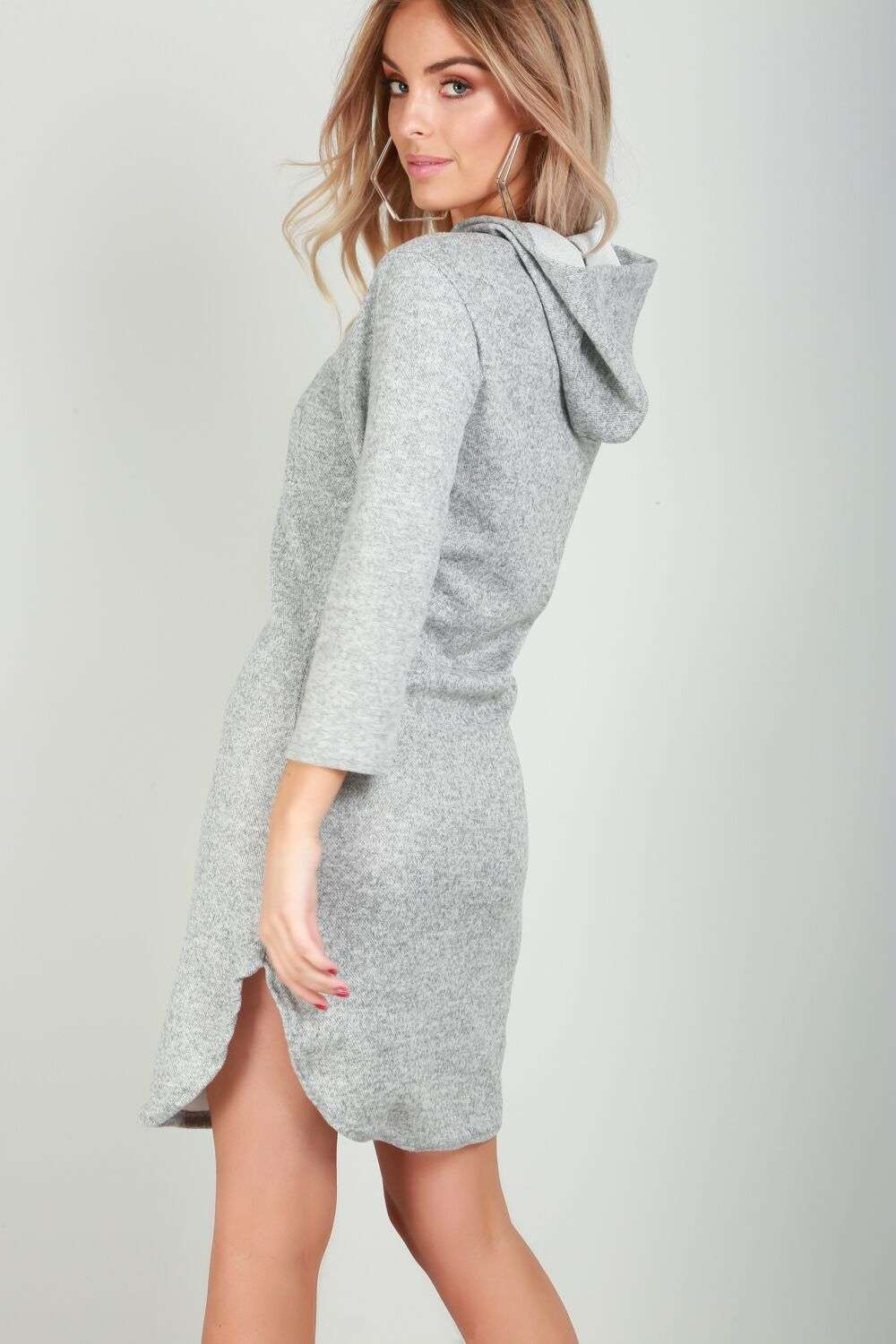 Violet Long Sleeve Curved Hem Sweater Dress - bejealous-com
