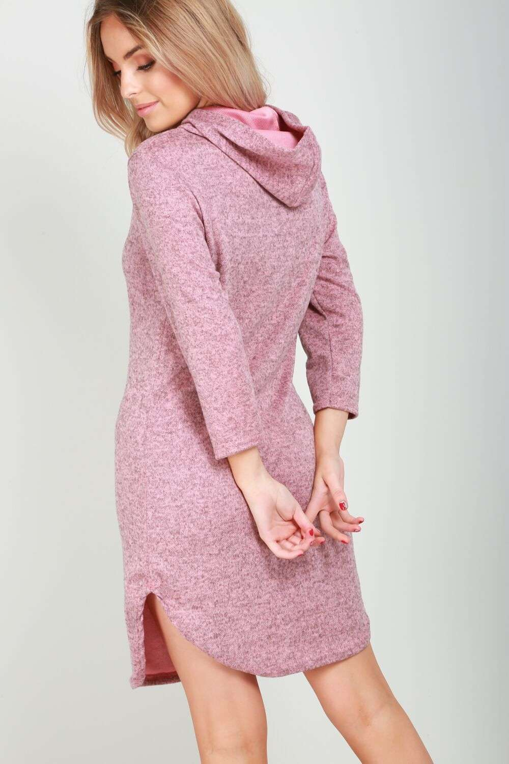 Violet Long Sleeve Oversized Hooded Sweater Dress - bejealous-com