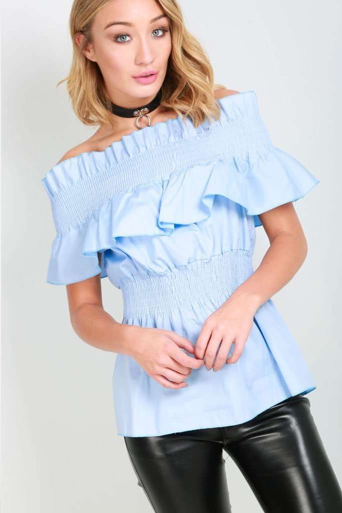 White Bardot Frilly Sheering Waist Peplum Top - bejealous-com