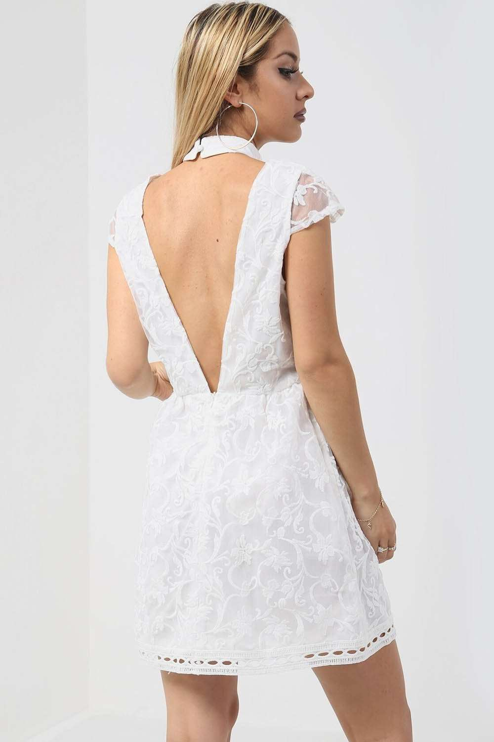White Choker Neck Floral Lace Open Back Mini Dress - bejealous-com