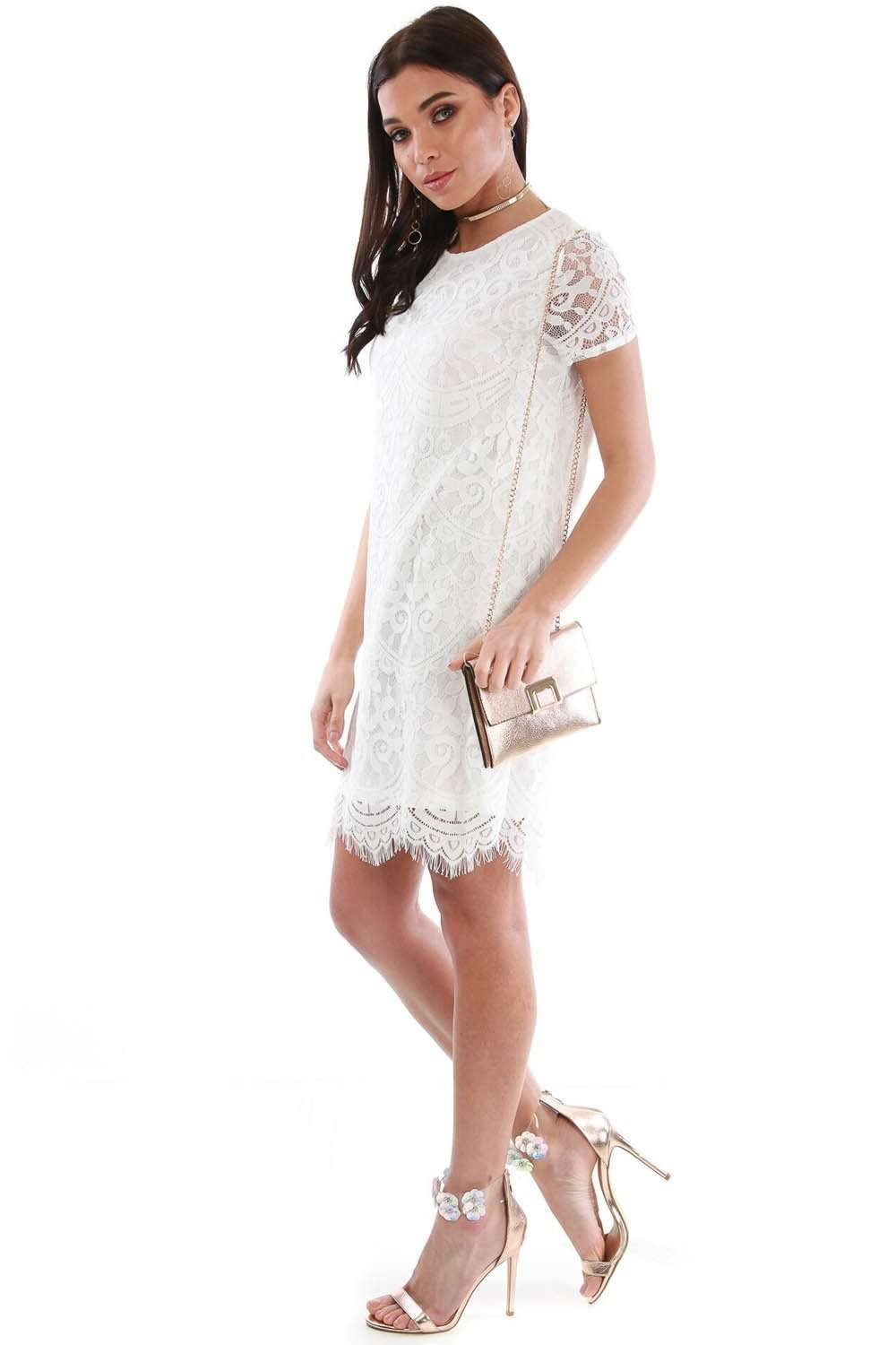 White Lace Scallop Hem Mini Shift Dress - bejealous-com