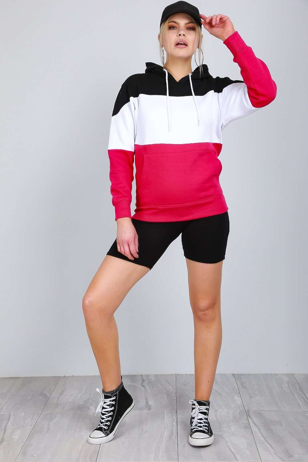 Colour Block Striped Hooded Sweatshirt - bejealous-com