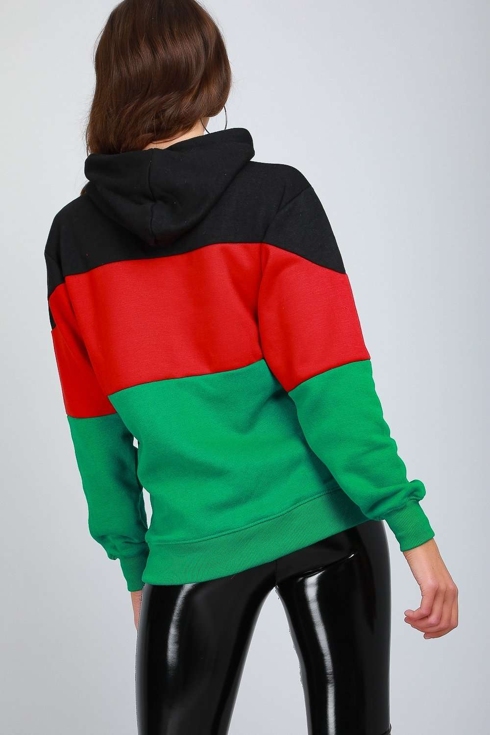 Oversize Colour Block Striped Hooded Sweatshirt - bejealous-com