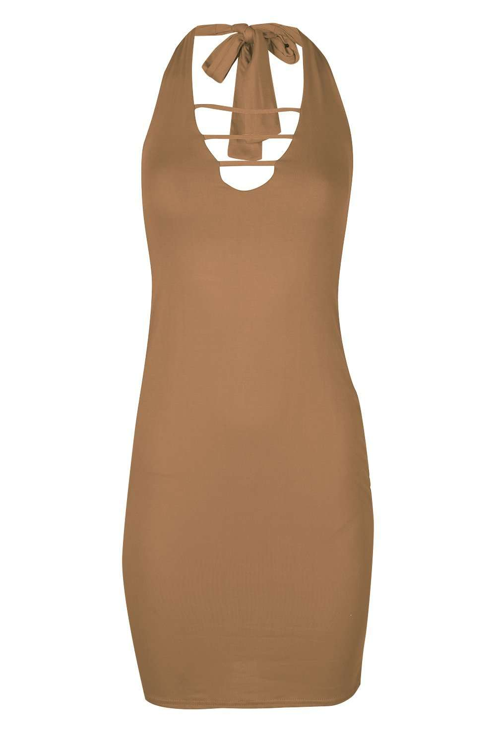 Zara Plunge Halterneck Bodycon Midi Dress - bejealous-com