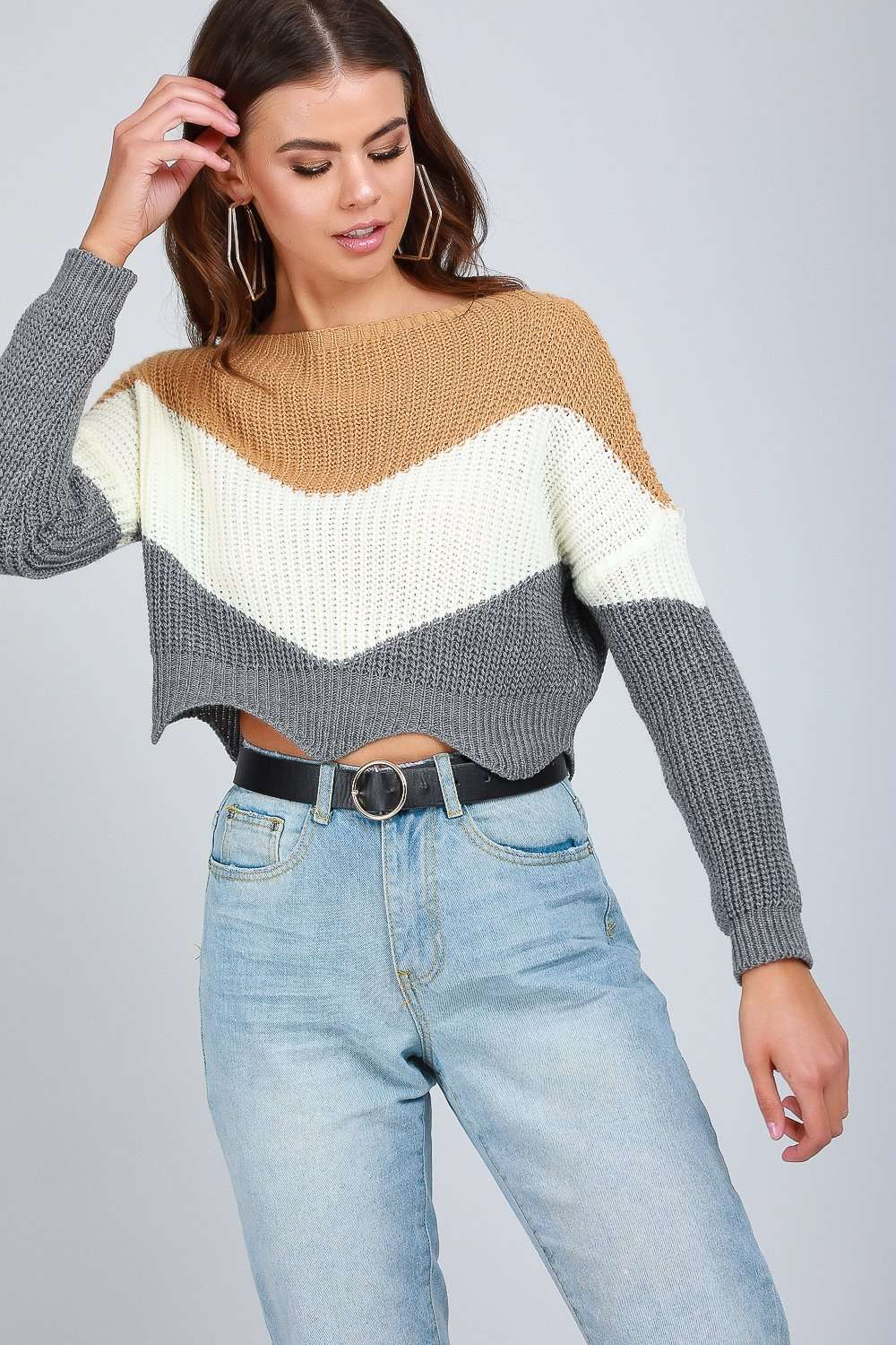 Zara Striped Scallop Hem Cropped Knitted Jumper - bejealous-com