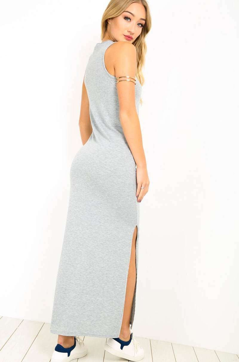 Zip Plunge Neck Grey Side Split Jersey Maxi Dress - bejealous-com