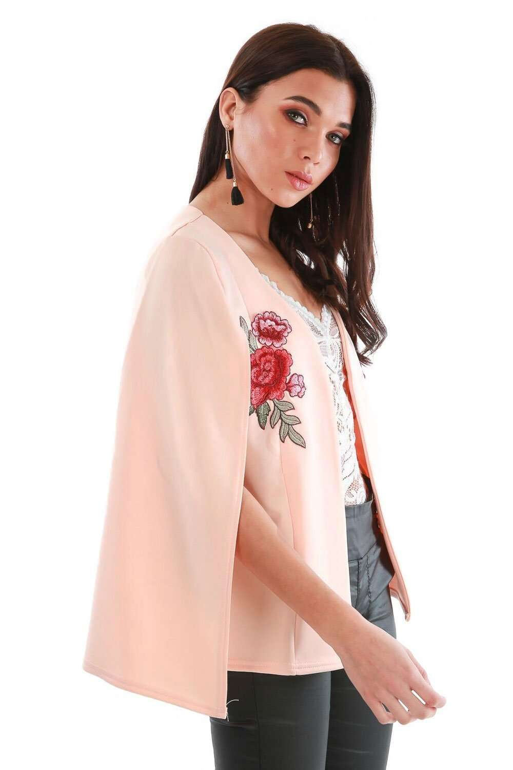 Zoe Floral Embroidered Open Front Cape Blazer - bejealous-com