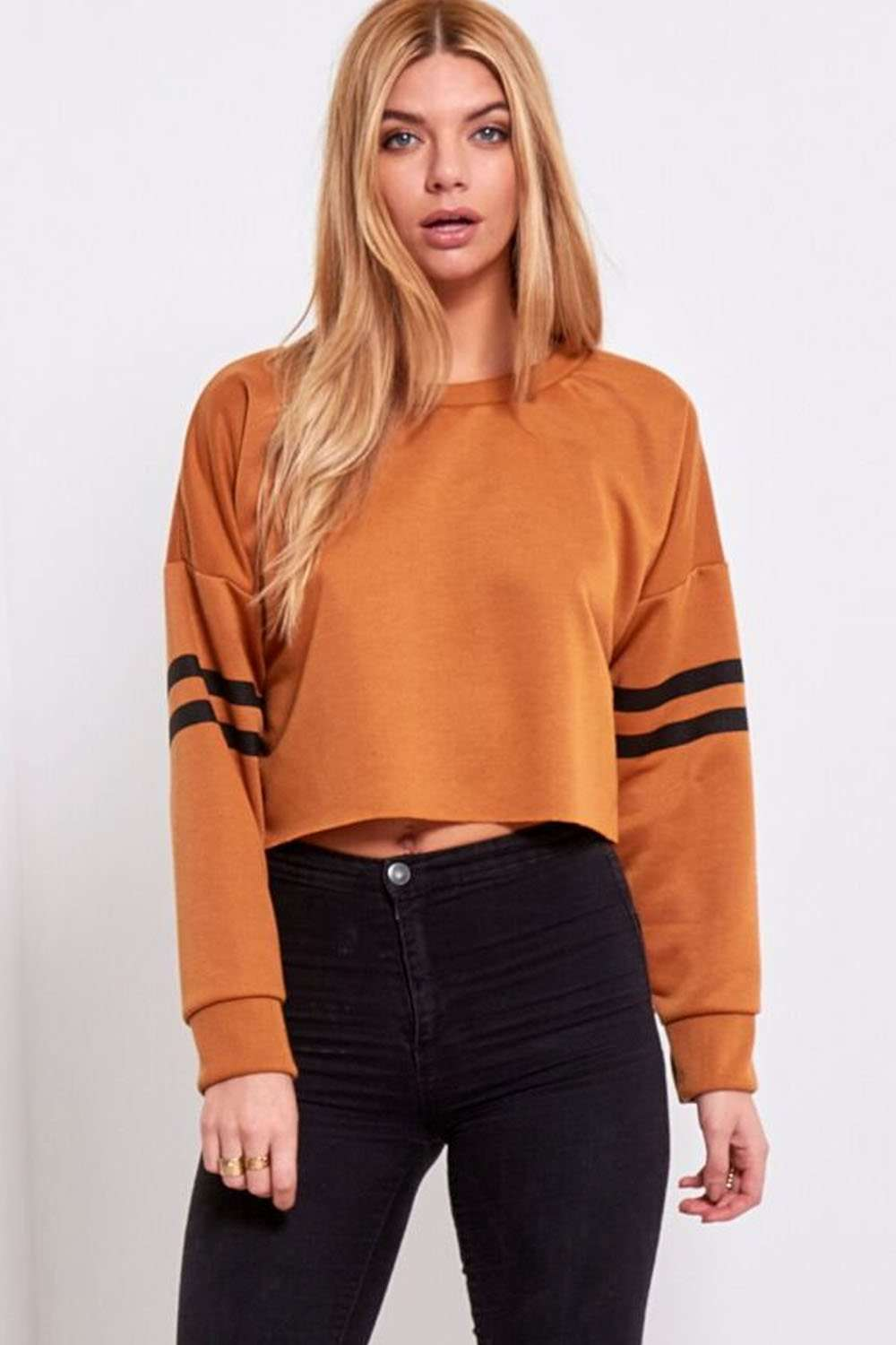 Zuly Striped Sleeve Cropped Sweater - bejealous-com