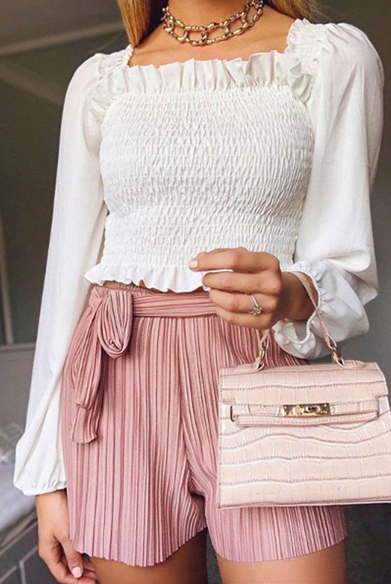 Pastel Pink High Waisted Belted Pleated Shorts