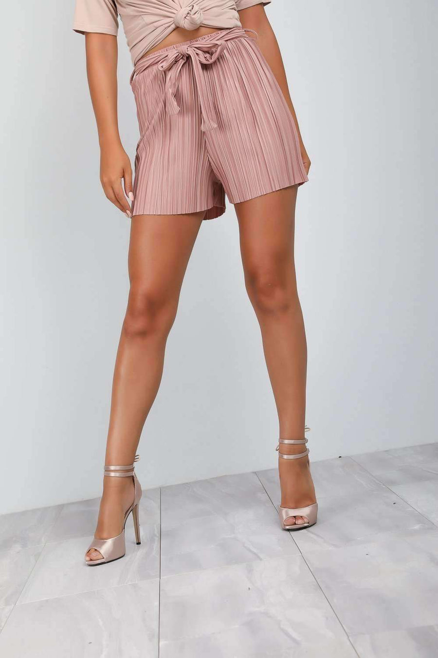 Pastel Pink High Waisted Belted Pleated Shorts - bejealous-com