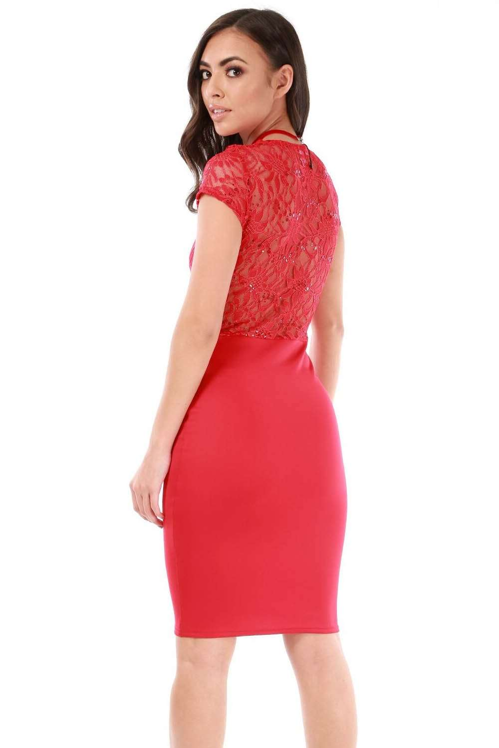 Short Sleeve Red Sequin Bodycon Midi Dress - bejealous-com