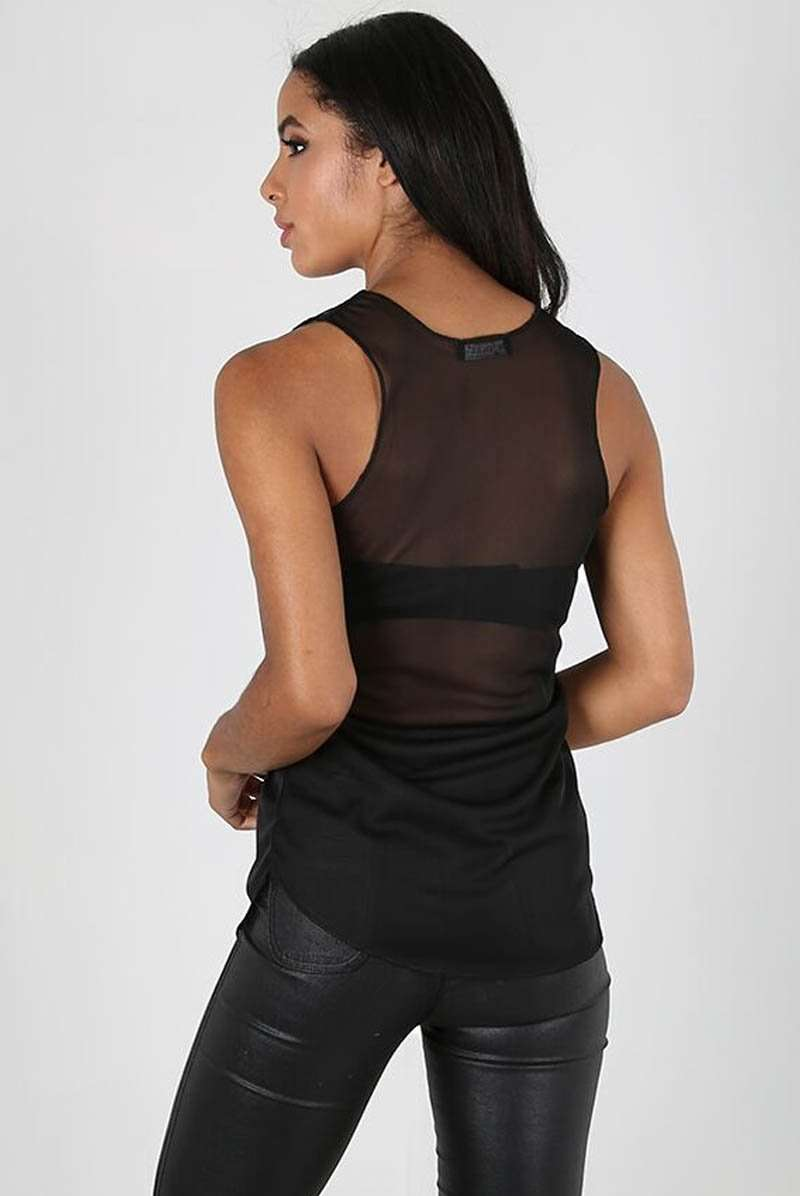 Sleeveless Curved Hem Black Mesh Vest Top