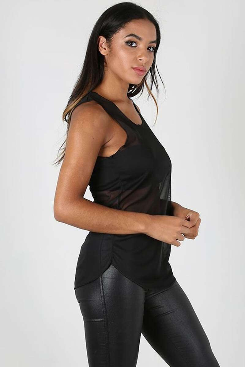 Sleeveless Curved Hem Black Mesh Vest Top - bejealous-com
