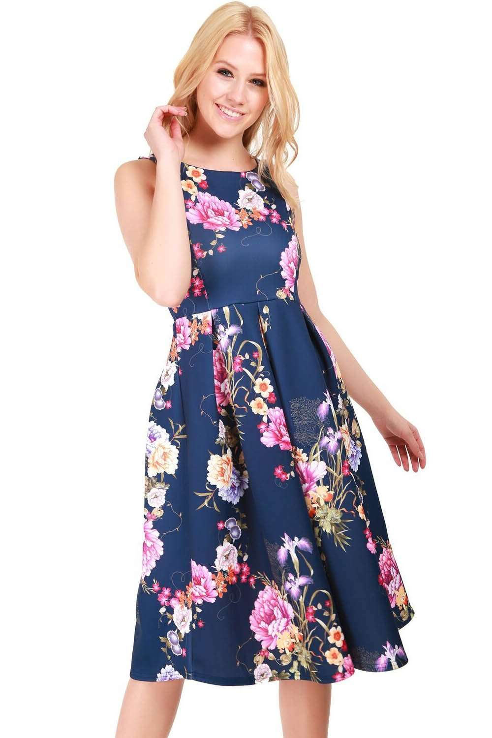 Sleeveless Navy Floral Pleated Midi Skater Dress - bejealous-com