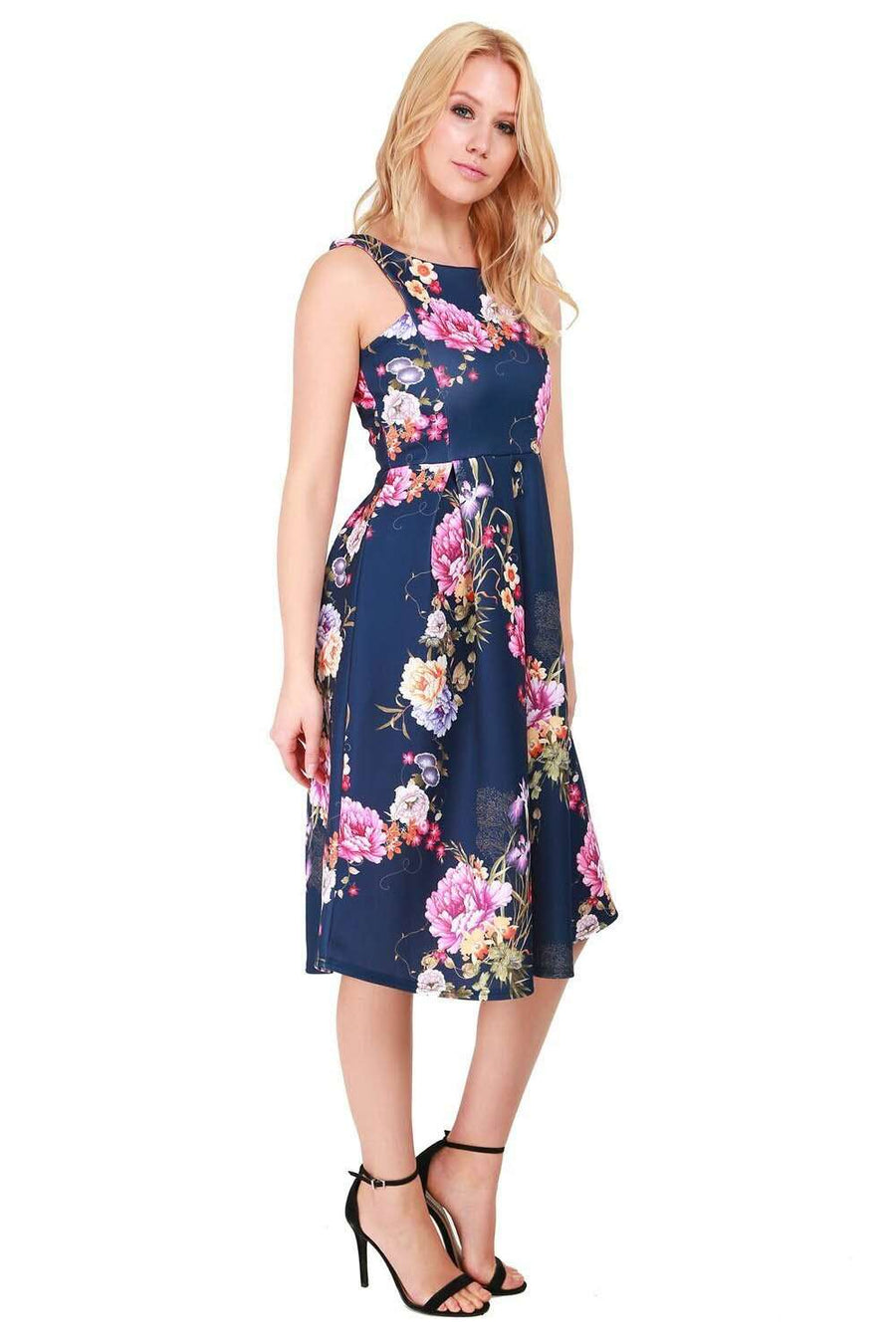Sleeveless Navy Floral Pleated Midi Skater Dress