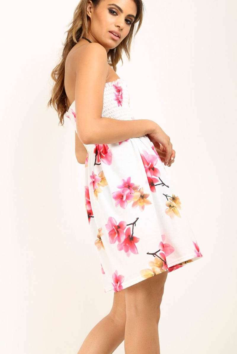 Strapless Sheering Floral Print Mini Swing Dress