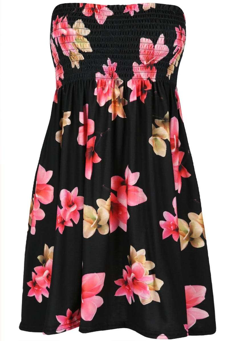 Strapless Sheering Floral Print Mini Swing Dress - bejealous-com