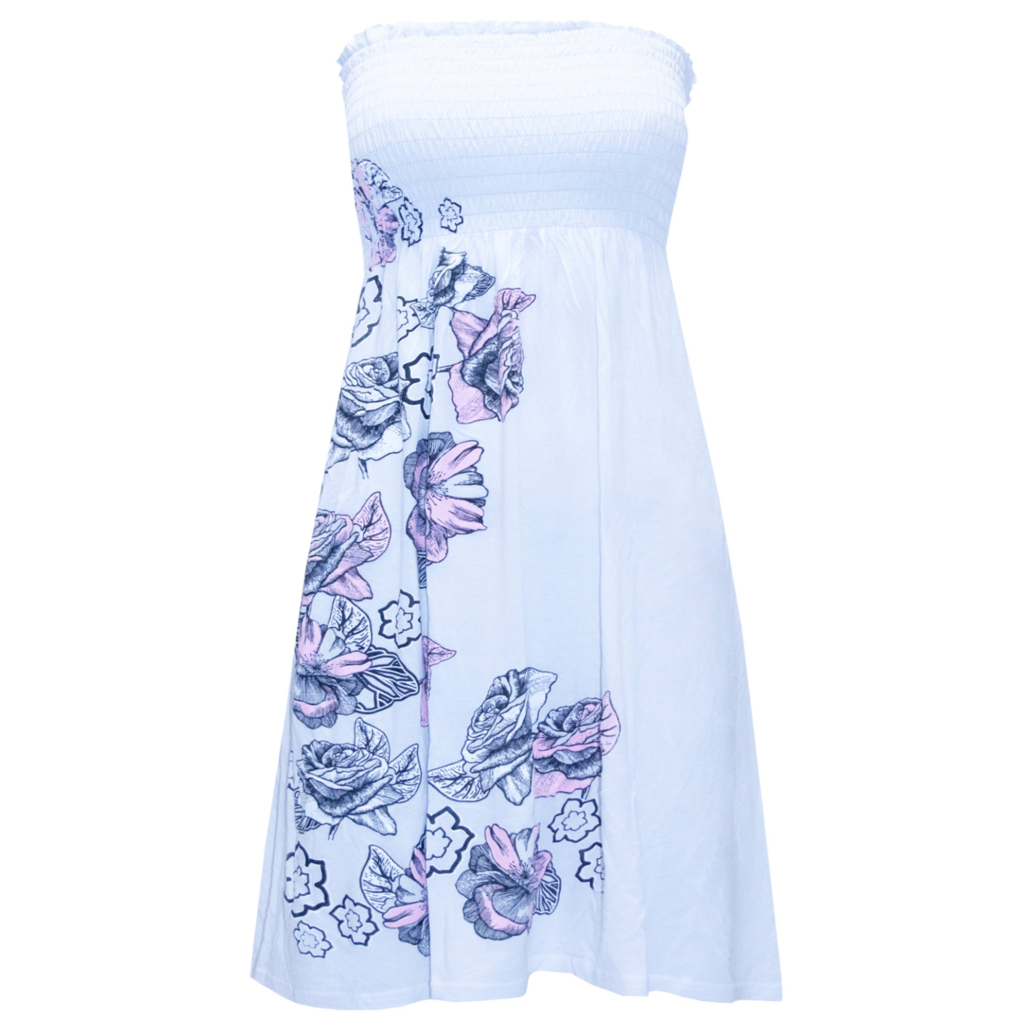 Lily Sheering Floral Bandeau Top Swing Dress