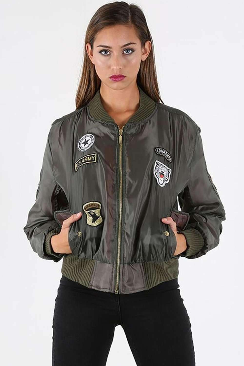 Amelia Long Sleeve Badge Bomber Jacket - bejealous-com