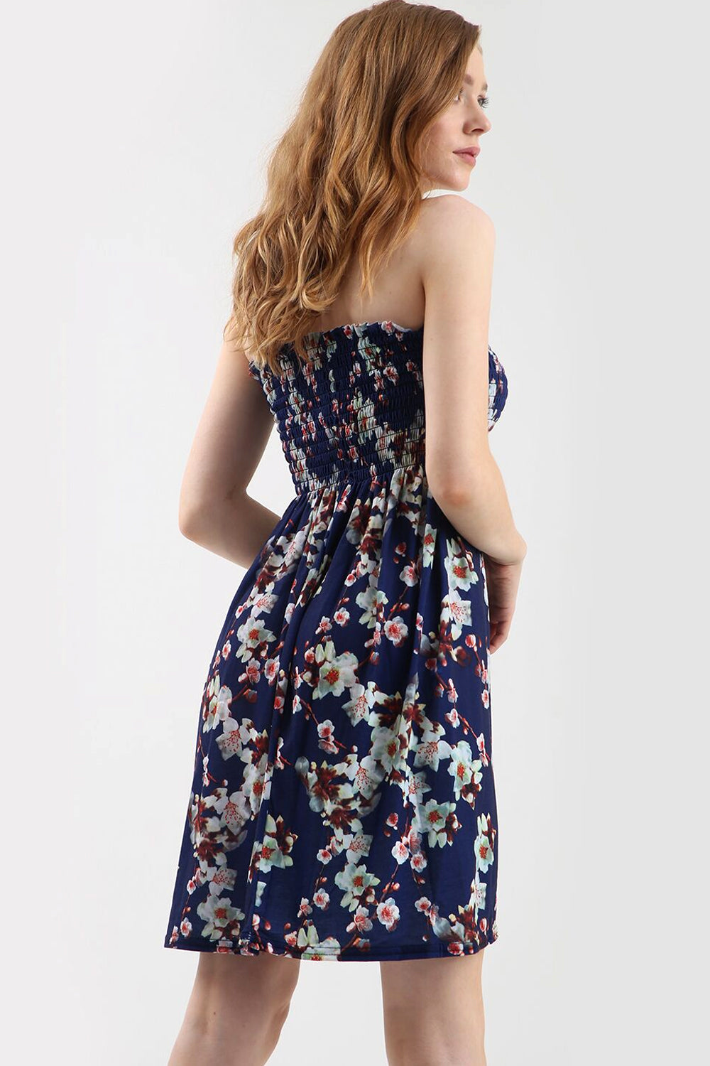 Navy Floral Print Strapless Mini Dress