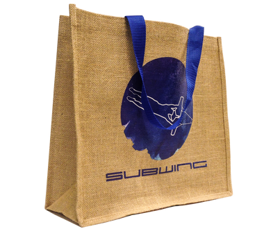 Jute beach bag with Subwing logo